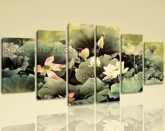 Large Floral Water Lily Wall Abstract On Canvas Dining Room Six Pieces Print, Extra Large Water Lily Wall Art, Dining Room, Ecru