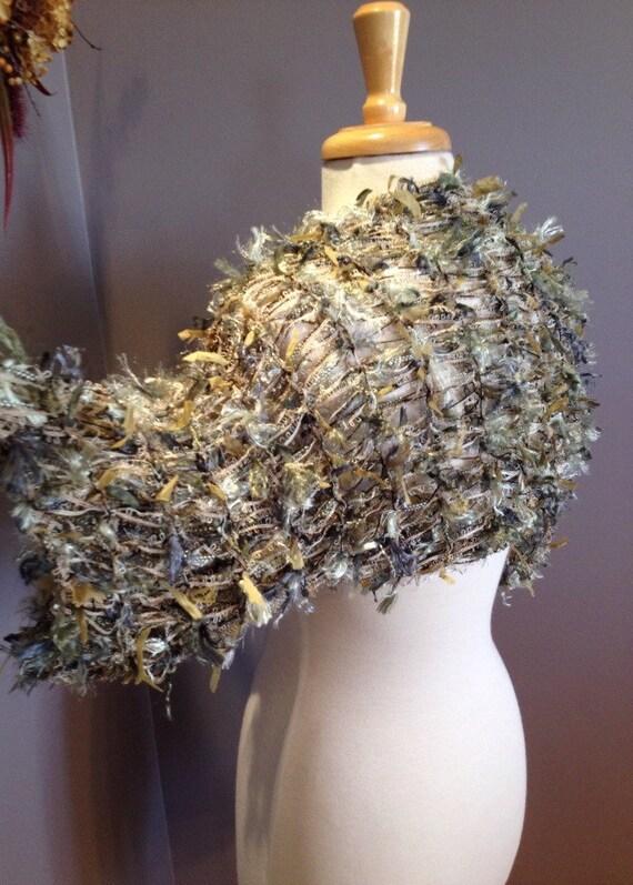 SALE Hand knit shrug, bolero or Sleevie - Artistic Fiber Knit short sleeve petite medium Shrug, sweater sleeves by rockpaperscissorsetc