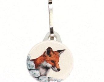 Zipper pull - Red Fox - 25mm, handmade wildlife zip pull, animal zip charm, bag charm, from original art