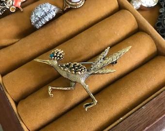 Vintage Goldtone Roadrunner Brooch Signed Tortolani South Western Style Roadrunner Pin Bird Jewelry Vintage Brooch