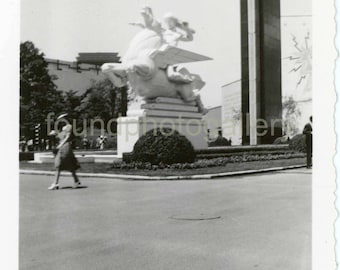Vintage Photo, Woman walking past Momument, Public, Sculpture, Old Photo, Black & White Photo, Antique Photo