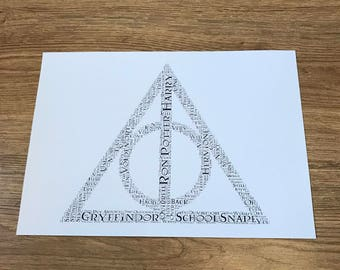 Harry Potter - Deathly Hallows, Typography Word Art A4 Print