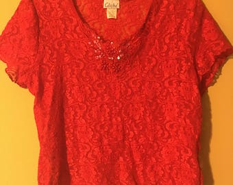 Cliche  80s Vintage Red Lace Blouse by cliche