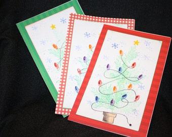 Set of 8 Handmade Christmas Cards w/envelopes - Christmas Trees