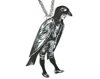 VINTAGE CROW BOY Large Pendant Necklace Gifts for her