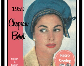 1950s French-Beret Hat Sewing Pattern -  PDF Sewing Pattern - PDF Instant Download - PDF Hat Pattern