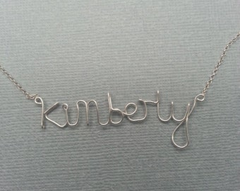 Name Pendant Kimberly Sterling Silver Custom Wire Word  Necklace Designer in UK