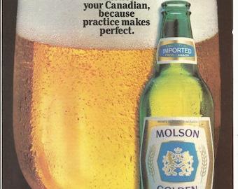 1983 Advertisement Molson Golden Beer Canadian Glass Foamy Green Speak Canadian Practice Perfect Canada Bar Pub Restaurant Wall Art Decor