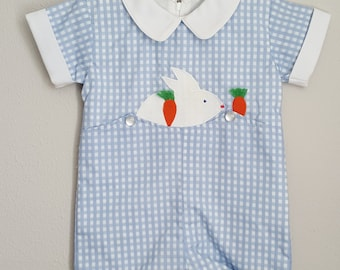 Vintage Boys Blue Gingham Easter Romper with Easter Bunny and Carrots- All Sizes- New, never worn- Flawed Seconds- SALE