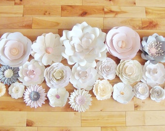 Paper flowers Set of 31 - Paper flower wall | Paper Flower Backdrop | Paper Flowers for Nursery | Paper Flower Wedding | Paper Flowers