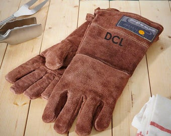 Personalized Leather Grilling Gloves, Laser Engraved, Monogram