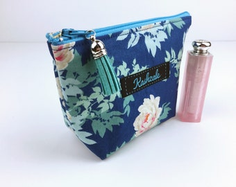 Blue Floral Small Make Up Bag, Small Cosmetic Bag,  Small Make Up Bag, Makeup Bag, Small Toiletry Bag, Travel Bag, Coin Purse, Make up.