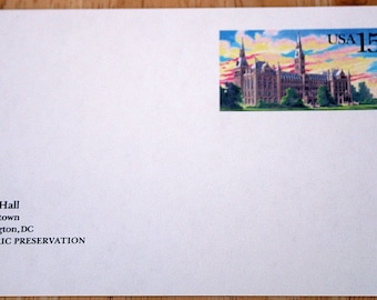 5 Mint USPS Stamped Postcards--Healy Hall, Georgetown, Washington, D.C.--Scott #UX128--15c--USPS 1988--Shipping Included