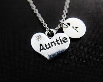 Silver Aunt Necklace Aunt Heart Necklace Silver Aunt Charm on Stainless steel Chain Personalized Initial Necklace Monogram Custom Jewelry