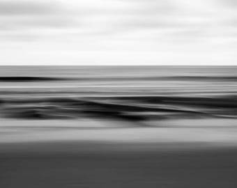 Abstract fine art photography, Black and white photography, Limited edition print, Beach art, Seascape, Long-exposure, minimalist, Drift