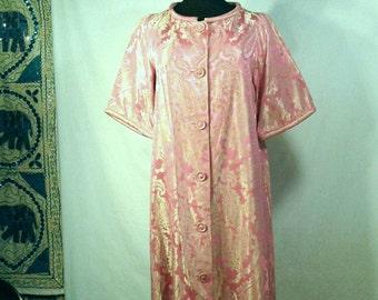 1960's Full Length Chiha-Rosenfeld Maxi Silk Brocade Iridescent Pink Gold Paisley Gown House Dress Robe Vintage Designer Hollywood Regency