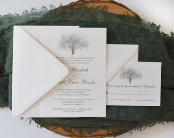 Hunter Oak Wedding Invitation Suite- White and Gray - Sample Invite - Southern Bride - Live Oak Tree Illustration - Hunter Army Airforce