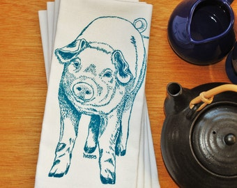 Teal Pig Dinner Napkins - Screen Printed Cotton Cloth - Washable and Reusable Napkins - Cute Wedding Shower Gift