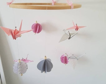 Mobile origami birds and balls