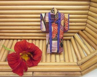 "PIN 3-inch ""Autumn"" Kimono. Cotton Origami Kimono Pin: Rust, Purple, Gold Abstract Landscape. Wearable Art. Wear it. Hang It. Frame It."