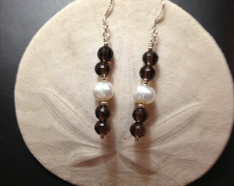 Smoky Quartz and Freshwater Pearl Drop Earrings