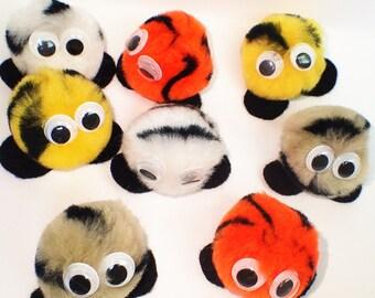 """1.5"""" Striped Warm Fuzzies / Warm Fuzzy Animal Print Pom Pom Critters (Set of 30)"""