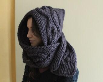 Hooded Scarf. Long Scarf. Wool Scarf. Chunky Scarf. Scoodie Scarf. Wool violet Scarf. Dusty eggplant hooded scarf, violet knit scoodie scarf
