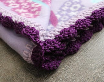 Butterfly Fleece Blanket with Crochet Border