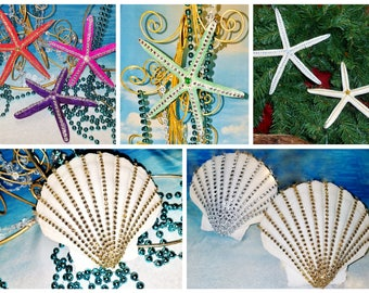 SALE Large BLING Rhinestone STARFISH or Scallop Mobile Coastal Beach Wedding Christmas Ornament Tree Topper Hanging Gift Photo Shoot Prop