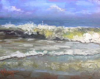 Seascape, Giclee Print on Canvas, Impressionist art,  Ocean Print, Surf Print,  Choose your size, Free Shipping, No Frame Need,