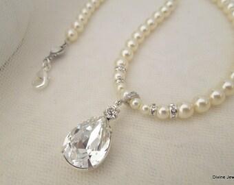 bridal necklace, pearl rhinestone necklace, Wedding Rhinestone necklace, swarovski crystal and pearl necklace, Statement necklace, ARIA