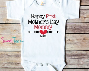Happy First Mother's Day Shirt Mommy Arrow Baby Girl Boy Bodysuit Personalized