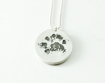 Your Pets Actual Paw Print on a Fine Silver Double Sided Pendant