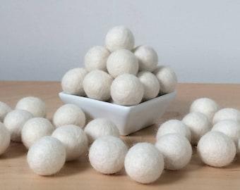 Felt Balls: CREAM, Felted Balls, DIY Garland Kit, Wool Felt Balls, Felt Pom Pom, Handmade Felt Balls, White Felt Balls, Cream Pom Poms