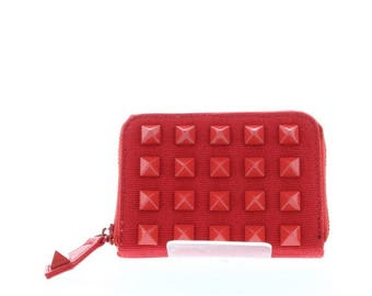 Red Studded Canvas Small Zip Wallet