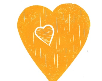 Father's Day - Heart with a Heart - Linoleum Art Print, orange, baby boy, Father and Son, Birthday gift, Kids wall art, Lino Print