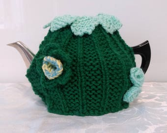 Pretty Handmade Knitted New Tea Cosy ~ Soft Emerald Green Yarn ~ Pale green flowers and leaves ~ Ideal Gift Idea!
