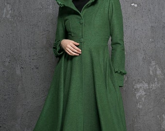 Womens Coats, Winter Coat, wool coat, Emerald Green coat, fit and flare coat, Long wool coat, Hooded coat, ruffle coat, gift (1345)