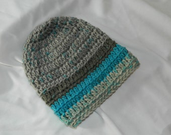Crocheted Infant/Toddler Gray and Teal Striped slouchy Beanie Hat