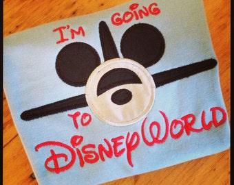 Boy's Mickey  Plane Appliqué Tee Vacation Tee for Boys