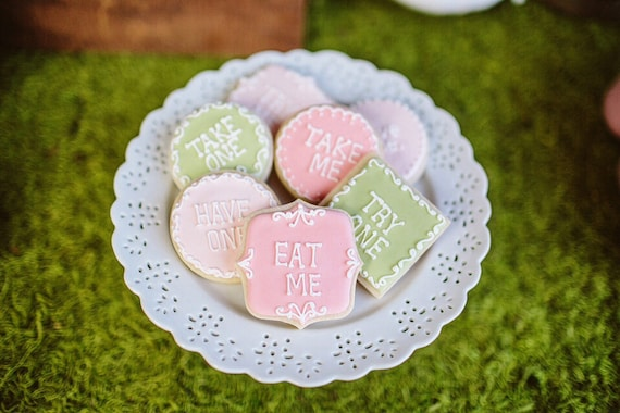 Message Cookies- 3 Dozen Eat Me Plaque/Frame Cookie Favor, Baby Shower, Birthday Cookies