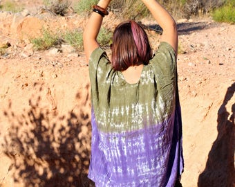 Tie Dye Loose Fitting Poncho Top, Plus Size Flowy Top, Trippy Bali Cover Up, Hippie Ladies Clothes