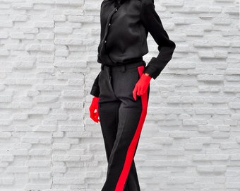 ELENPRIV black pants with red stripes for PashaPasha dolls