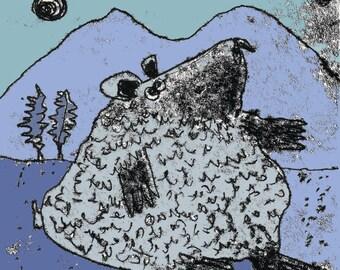 Bear Print, black bear, bear drawing, bear illustration, cuddly bear, cute bear, bear theme, nursery art, animal art, grizzly bear,bear cave