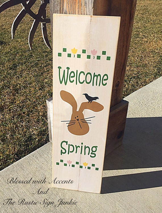 Primitive Easter Decor Rustic Wood Sign