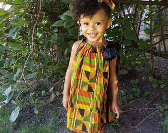 African Kente Pillowcase Dress, Kente Dress, Black History Month, Baby Dress, Girls Headwrap, African Baby Clothes, African Clothing