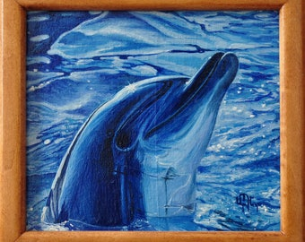 Dolphin oil painting on canvas ready to hang / hipper-realism / animal