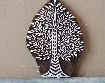 Indian stamp wood block Leafy tree textile stencil traditional hand carved wooden printing art
