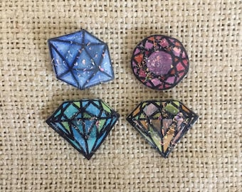 Diamond shaped magnets set with glitter, sets of 4, magnet for boards, fridge