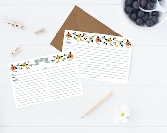 Pack of 5 - Pretty floral Recipe Cards